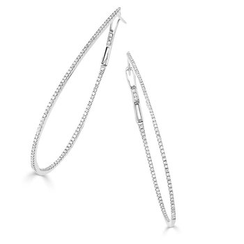 Diamond Skinny Hoop Earrings