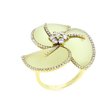 Lemon Quartz & Diamond Flower Ring