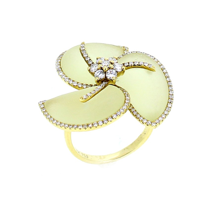 Sophia By Design Lemon Quartz & Diamond Flower Ring