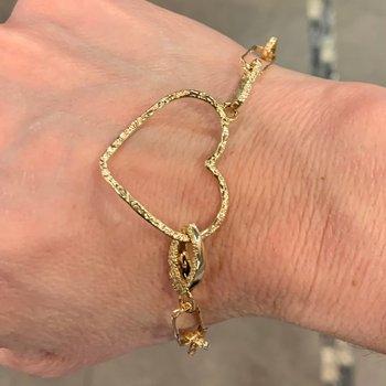 Two Tone Gold Heart Bracelet