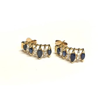 Marquise Sapphire and Baguette Diamond Earrings