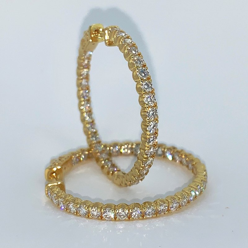 Decor 4.01ctw Diamond Hoop Earrings