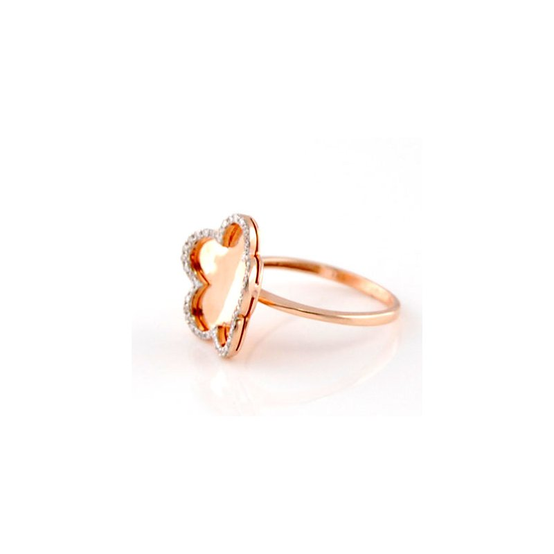 Sophia By Design Rose Gold Diamond Flower Ring