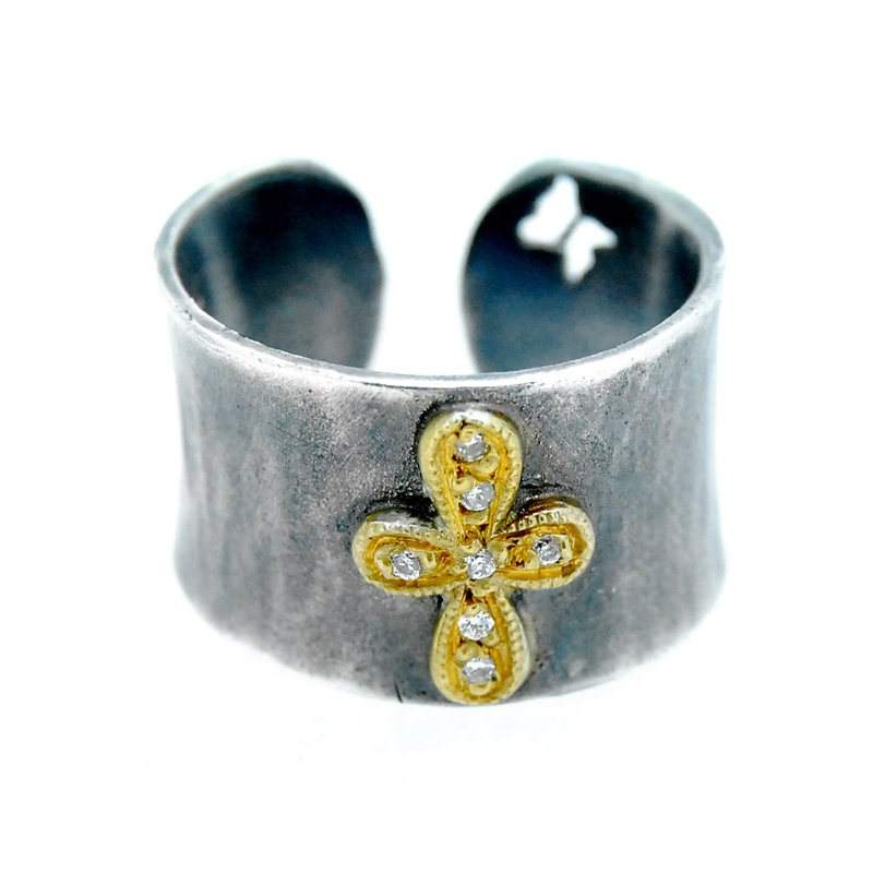 Kurtulan Diamond Cross Cuff Ring