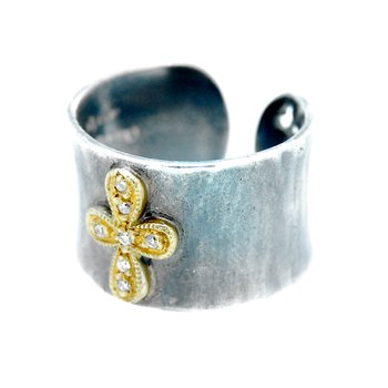 Diamond Cross Cuff Ring