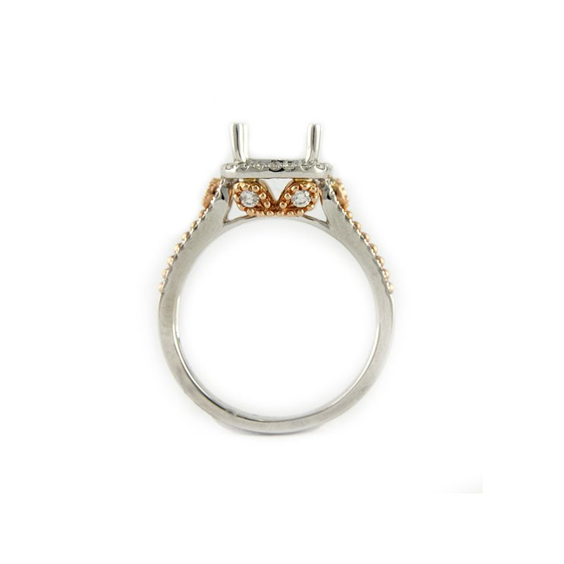 Decor Halo Diamond Ring Mounting with Rose Gold