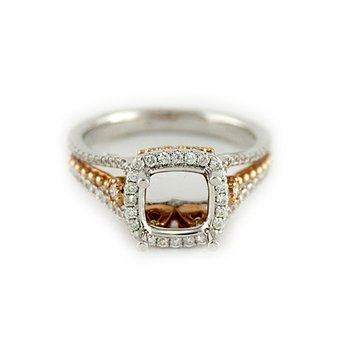 Halo Diamond Ring Mounting with Rose Gold