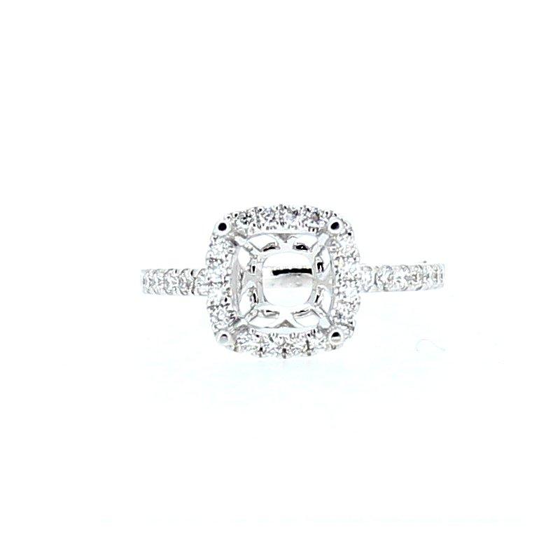 Decor Cushion Halo Diamond Ring Mounting