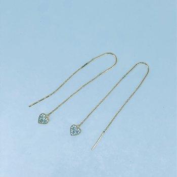 Diamond Heart Threader Earrings