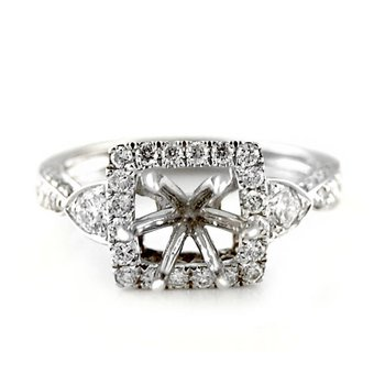 Square Halo Diamond Ring Mounting