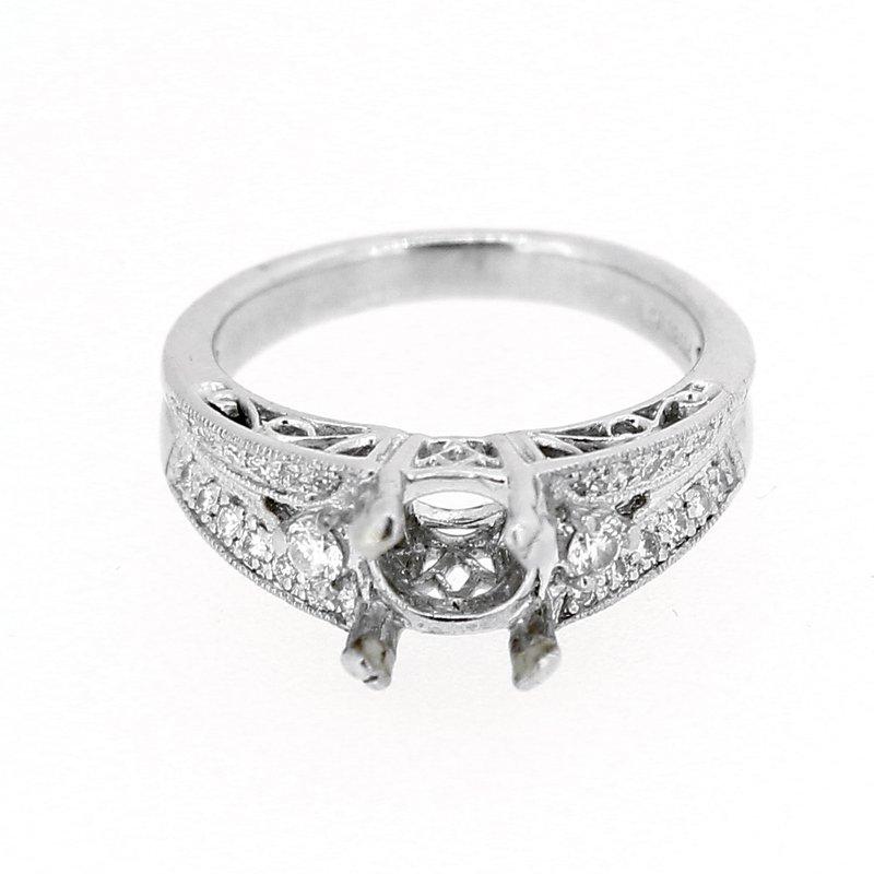 Decor Estate Platinum Wide Diamond Ring Mounting