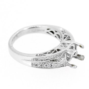 Estate Platinum Wide Diamond Ring Mounting