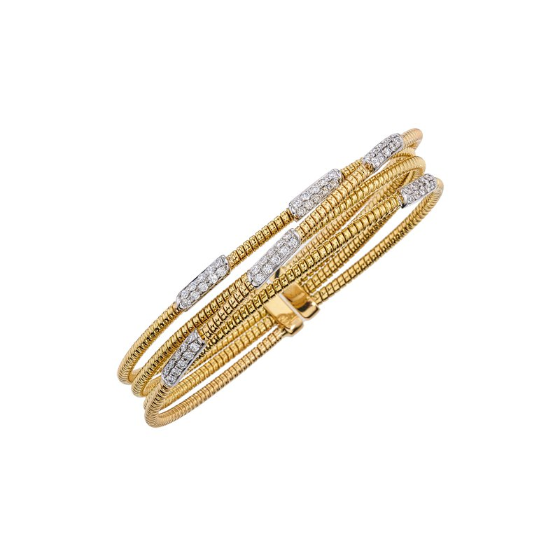DA Gold Diamond Cuff Bracelet