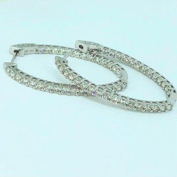3.00ctw Diamond Oval Hoop Earrings