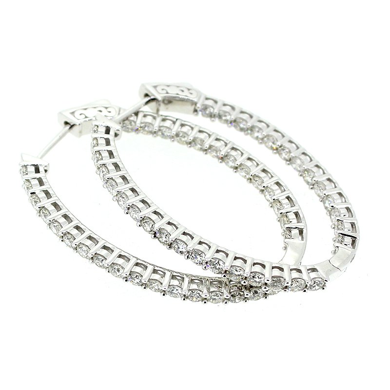 Decor 3.00ctw Diamond Oval Hoop Earrings