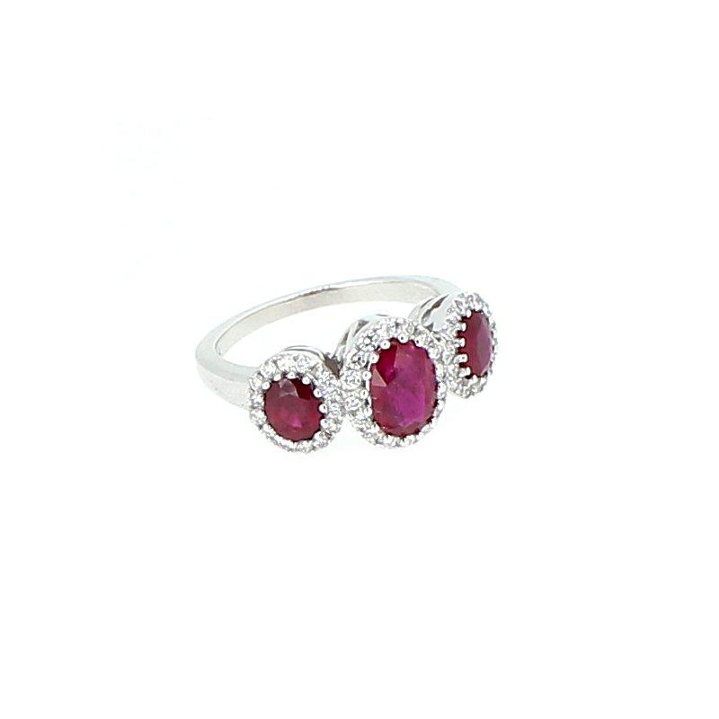 Decor Ruby & Diamond Halo Ring