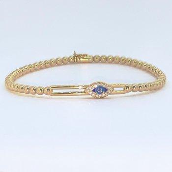 Yellow Gold Beaded Evil Eye Slider Bracelet