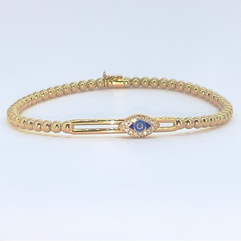 Hulchi Belluni Yellow Gold Beaded Evil Eye Slider Bracelet