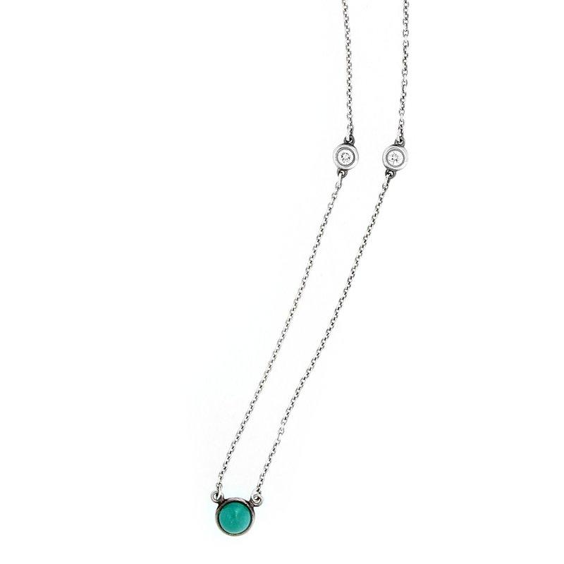 Tiffany Co Elsa Peretti Turquoise & Diamond Necklace