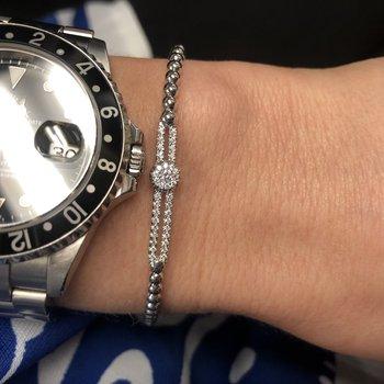 White Gold Beaded Pave Diamond Slider Bracelet