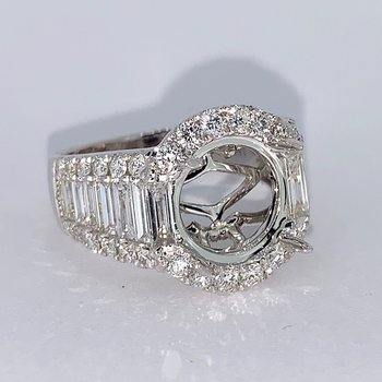 Baguette & Round Diamond Ring Mounting