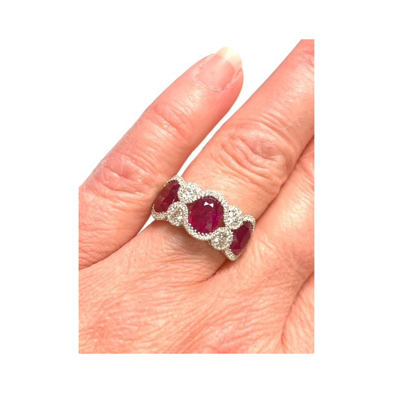 Decor 4.68CT Oval Ruby and Diamond Ring