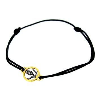 Tulip Charm Bracelet on Black Cord
