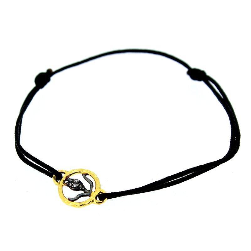 Kurtulan Tulip Charm Bracelet on Black Cord