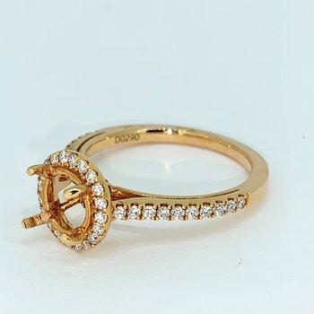 Rose Gold Diamond Halo Ring Mounting