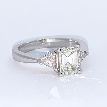 Emerald & Trillion Diamond Engagement Ring