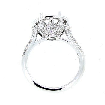 Ornate Halo Diamond Ring Mounting