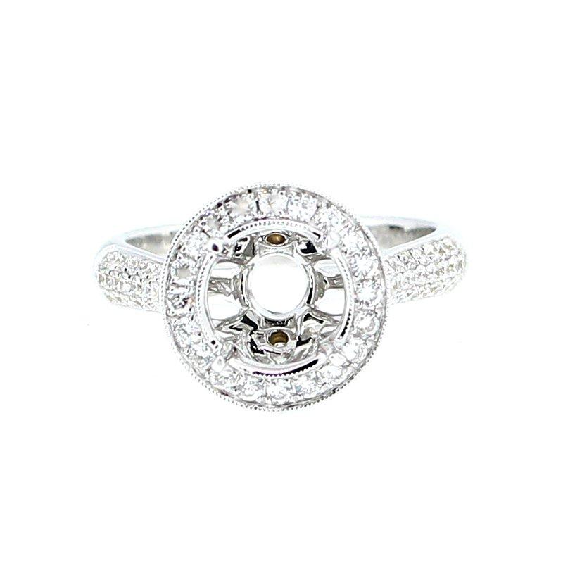 Decor Ornate Halo Diamond Ring Mounting