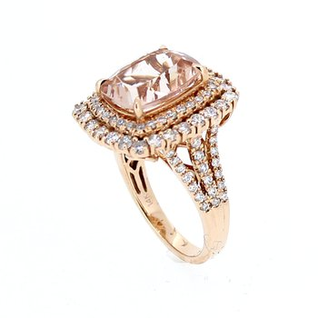 Morganite & Diamond Rose Gold Ring