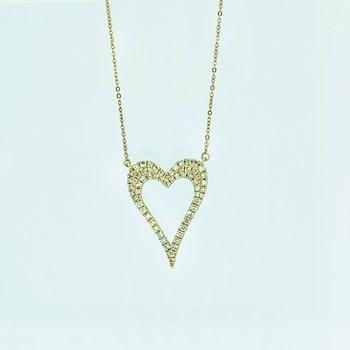 Open Pave Diamond Heart Necklace