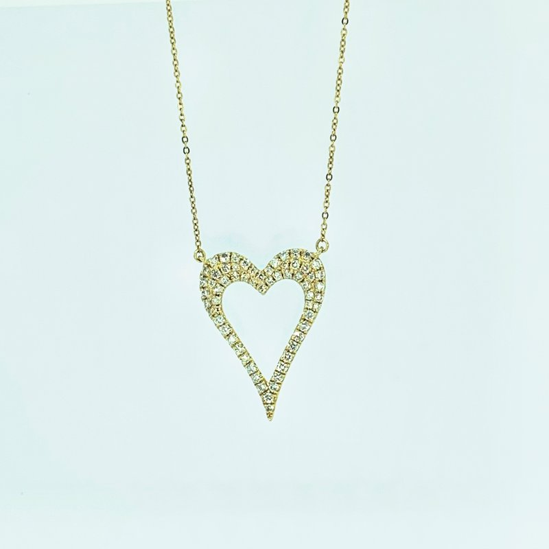 Decor Open Pave Diamond Heart Necklace