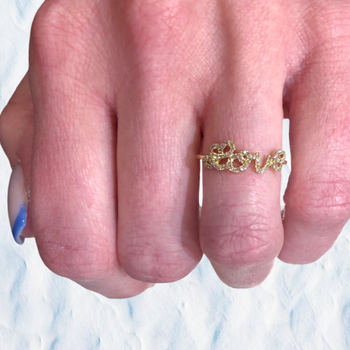 Diamond Love Ring in Yellow Gold