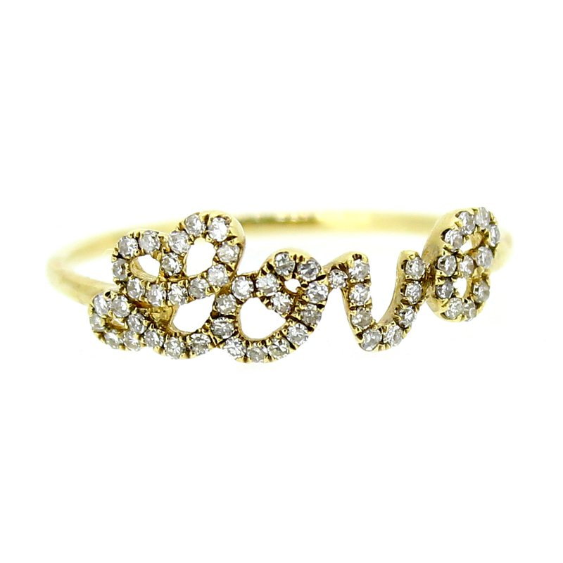 Decor Diamond Love Ring in Yellow Gold