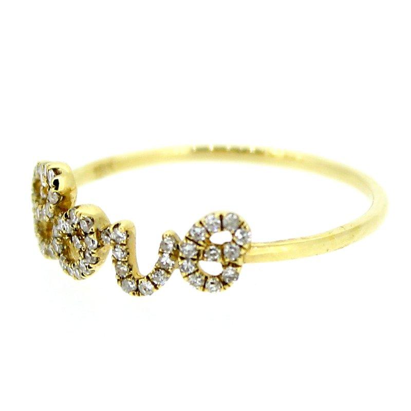 Decor Diamond Love Ring in Yellow Gold