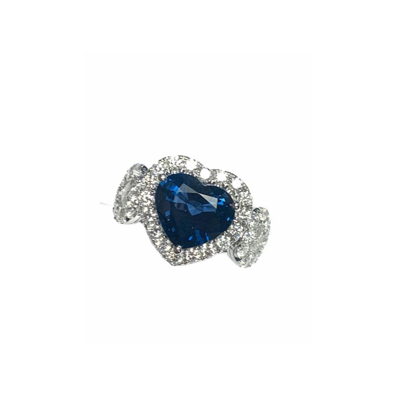 Decor Sapphire Heart and Diamond Ring