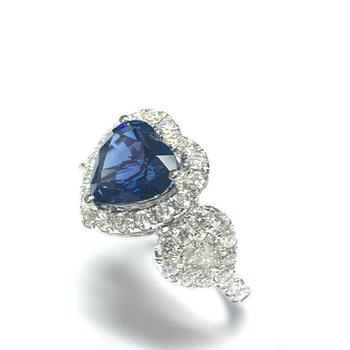 Sapphire Heart and Diamond Ring