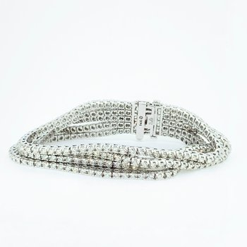 10.01ctw Five Row Diamond Bracelet