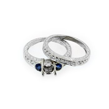 Estate Sapphire & Diamond Wedding Set