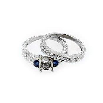 Estate Sapphire & Diamond Wedding Set