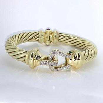 Vintage Buckle Diamond & Gemstone Bracelet