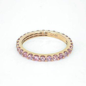 Pink Sapphire Stackable Eternity Band