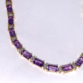 Amethyst & Diamond Bracelet