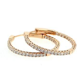 1.27ctw Rose Gold Diamond Hoops