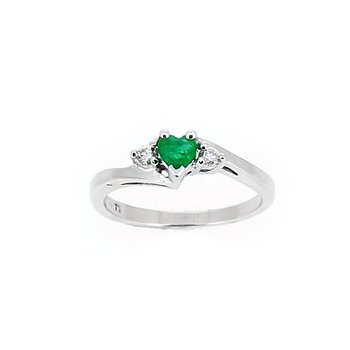 Heart Shape Emerald Diamond Accent Ring