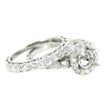 Round Halo Engagement Ring Mounting Set