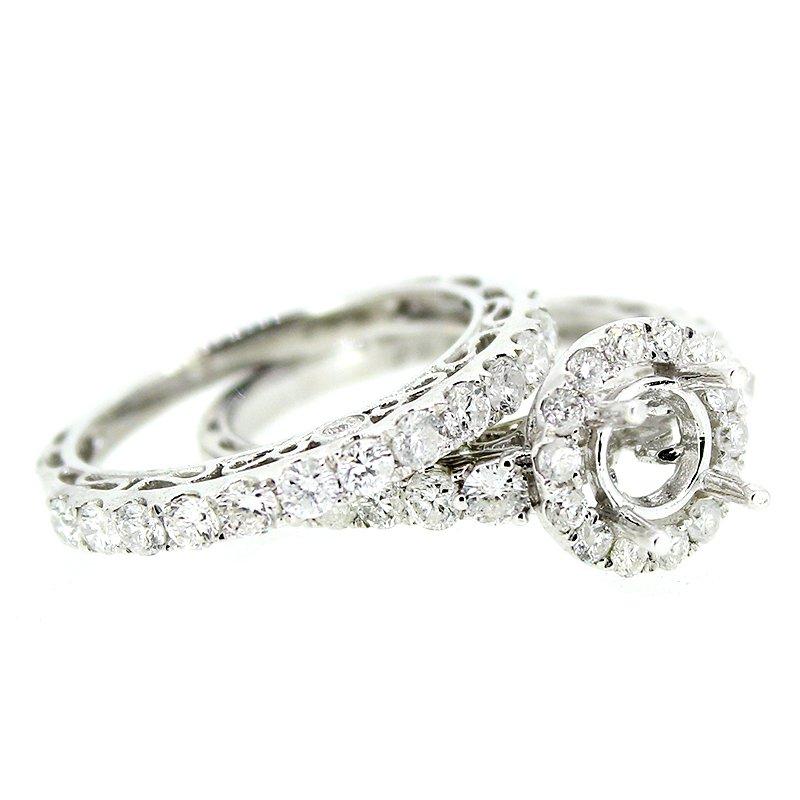 Decor Round Halo Engagement Ring Mounting Set